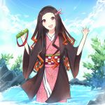1girl :d bamboo bit_gag black_hair blue_sky brown_hair checkered claw_pose clouds commentary day fang gag hair_ribbon hands_up head_tilt holding japanese_clothes kamado_nezuko kimetsu_no_yaiba kimono long_hair long_sleeves looking_at_viewer multicolored_hair obi open_clothes open_mouth outdoors pink_kimono pink_ribbon red_eyes ribbon rocm_(nkkf3785) sash sky smile solo standing twitter_username two-tone_hair upper_body very_long_hair wading water wide_sleeves