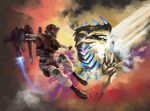 1boy air_raider_(edf) commentary earth_defense_force erginus explosion flying helmet highres jetpack kaijuu laser laser_pointer riki6