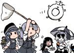 4girls :o arare_(kantai_collection) asashio_(kantai_collection) bangs black_hair blush butterfly_net chibi dress enemy_lifebuoy_(kantai_collection) eyewear_on_head fairy_(kantai_collection) food food_in_mouth grey_hair ground_vehicle hand_net hat holding kantai_collection long_hair long_sleeves military military_vehicle motor_vehicle multiple_girls ooshio_(kantai_collection) open_mouth pale_skin pinafore_dress remodel_(kantai_collection) school_uniform shinkaisei-kan short_hair simple_background sunglasses supply_depot_hime supply_depot_summer_hime tank terrajin twintails white_background white_hair white_skin