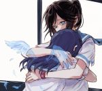 2girls bangs black_hair blue_eyes blue_hair hibike!_euphonium hug kasaki_nozomi liz_to_aoi_tori long_hair multiple_girls ponytail sailor_collar school_uniform short_sleeves watch window wings yoroizuka_mizore yuri yuuyu_(777)