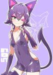 :3 animal_ears cat_ears green_eyes highres one_eye_closed personification pink_eyeshadow pokemon pokemon_(creature) pokemon_(game) purple_hair purrloin slit_pupils tagme tail