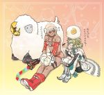 1boy 1girl altera_(fate) altera_the_santa apollo_(fate) boots breasts dark_skin detached_sleeves earmuffs fake_facial_hair fake_mustache fate/grand_order fate_(series) green_hair mittens paris_(fate/grand_order) red_eyes sheep sitting small_breasts smile veil white_hair