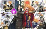 2boys anger_vein belt black_hair cape cup dragon feathered_wings ferdinand_von_aegir fire_emblem fire_emblem:_three_houses flower gameplay_mechanics garreg_mach_monastery_uniform gift gloves hair_over_one_eye highres hubert_von_vestra korokorokoroko letter long_hair magic male_focus moon multiple_boys open_mouth orange_eyes orange_hair pegasus polearm sparkle spear sun teacup teeth uniform weapon wings yellow_eyes