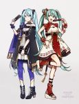 2girls :d bangs black_cape black_footwear blue_eyes blue_hair boots breasts buzz cape closed_fan closed_mouth commentary_request dress dual_persona eyebrows_visible_through_hair fan folding_fan green_eyes green_hair grey_background hair_between_eyes hair_bun hatsune_miku high_heel_boots high_heels highres holding holding_fan long_hair looking_at_viewer multiple_girls open_mouth pantyhose platform_footwear purple_legwear simple_background sleeveless small_breasts smile standing standing_on_one_leg strapless strapless_dress twintails very_long_hair vocaloid white_dress white_footwear
