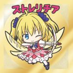 1girl ;) ahoge arrow bangs blonde_hair blush bow bow_(weapon) bridal_gauntlets brown_wings character_name chibi closed_mouth drawing_bow dress eyebrows_visible_through_hair fairy_wings flower flower_knight_girl frilled_dress frills full_body hair_between_eyes hair_flower hair_ornament holding holding_bow_(weapon) holding_weapon long_hair one_eye_closed pantyhose pink_dress puffy_short_sleeves puffy_sleeves purple_bow purple_flower purple_footwear rinechun shoes short_sleeves smile solo strelitzia_(flower_knight_girl) transparent_wings two_side_up v-shaped_eyebrows weapon white_legwear wings