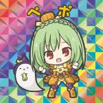 1girl :d bangs big_head bikkuriman bikkuriman_(style) blush boots braid breasts character_name chibi colorful cross-laced_clothes crown_braid dress eyebrows_visible_through_hair flat_color flower_knight_girl fringe_trim full_body ghost green_hair halloween hands_up happy hat iridescent knee_boots long_hair long_sleeves multicolored multicolored_background no_nose open_mouth orange_dress orange_footwear parody pepo_(flower_knight_girl) puffy_short_sleeves puffy_sleeves pumpkin pumpkin_costume purple_headwear purple_legwear red_eyes rinechun short_over_long_sleeves short_sleeves sleeve_cuffs smile solo standing sticker style_parody thigh-highs w_arms witch_hat