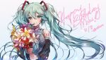 1girl :> absurdly_long_hair arms_at_sides bangs bare_shoulders blue_background blue_eyes blue_hair blue_neckwear blush bouquet breasts character_name dated detached_sleeves eyebrows_visible_through_hair eyelashes floating_hair flower flower_request glowing gradient gradient_background hair_between_eyes happy happy_birthday hatsune_miku headset highres holding holding_bouquet holding_flower light_particles long_hair looking_at_viewer medium_breasts necktie number_tattoo orange_flower pink_background pink_flower purple_flower red_flower shirt shoulder_tattoo simple_background sleeveless sleeveless_shirt smile solo standing tattoo twintails twitter_username upper_body very_long_hair vocaloid white_background white_flower white_shirt xionfes yellow_flower