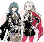 2girls armor axe blonde_hair blue_eyes blue_hair blush breasts byleth_(fire_emblem) byleth_(fire_emblem)_(female) cape cravat cute edelgard_von_hresvelg female_my_unit_(fire_emblem:_fuukasetsugetsu) fire_emblem fire_emblem:_fuukasetsugetsu fire_emblem:_three_houses fire_emblem_heroes gamelife506 garreg_mach_monastery_uniform gloves hair_ornament hair_ribbon intelligent_systems koei_tecmo long_hair looking_at_viewer medium_hair moe multiple_girls my_unit_(fire_emblem:_fuukasetsugetsu) nintendo pantyhose red_cape ribbon short_hair simple_background smile super_smash_bros. uniform upper_body white_background