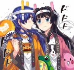2girls black_hair blue_eyes blue_hair brown_eyes commentary_request fan glowstick happi headband highres idolmaster idolmaster_million_live! japanese_clothes kisaragi_chihaya light_stick long_hair looking_at_another mogami_shizuka multiple_girls paper_fan print_shirt shirt stuffed_toy takezaka_tarou wide_sleeves