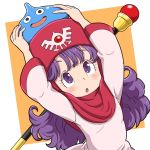 1girl blush commentary_request curly_hair dragon_quest dragon_quest_ii dress highres hood long_hair long_sleeves open_mouth princess_of_moonbrook purple_hair slime_(dragon_quest) violet_eyes yazwo