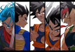 5boys armor bandana bangs bardock black_border black_eyes black_hair blue_eyes blue_hair border clenched_teeth close-up denim denim_jacket dougi dragon_ball dragon_ball_super dragon_ball_z face facial_scar facing_away father_and_son fighting_stance fingernails floating_hair from_above frown hands_clasped holding holding_sword holding_weapon jacket looking_away looking_back looking_down male_focus multiple_boys neckerchief own_hands_together panels profile red_headwear red_neckwear scar scar_on_cheek serious shaded_face simple_background smile son_gohan son_gokuu sword tako_jirou teeth trunks_(future)_(dragon_ball) upper_body vegeta weapon white_background wristband