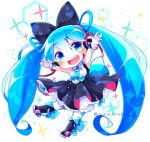 1girl arms_up bare_shoulders black_bow blue_eyes blue_hair blue_neckwear boot_bow boots bow cable chibi dress_bow hair_bow hair_ornament hatsune_miku headphones knee_boots layered_skirt leg_up long_hair looking_at_viewer magical_mirai_(vocaloid) necktie open_mouth outstretched_arms shirayuki_towa shirt short_necktie skirt smile solo sparkle standing standing_on_one_leg thigh-highs twintails twitter_username very_long_hair vocaloid white_legwear white_shirt