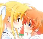 2girls blonde_hair blue_eyes blush collared_shirt couple eye_contact fate_testarossa food fruit hair_ornament hair_ribbon kerorokjy licking long_hair looking_at_another lyrical_nanoha mahou_shoujo_lyrical_nanoha multiple_girls orange_hair popsicle red_eyes ribbon school_uniform shirt short_hair short_twintails simple_background sweat takamachi_nanoha tongue twintails uniform watermelon watermelon_bar white_background white_ribbon white_uniform yuri