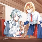 2girls alice_margatroid apron bangs blonde_hair blue_dress blue_eyes blush bun_cover capelet chair commentary_request cowboy_shot cup dress eyebrows_visible_through_hair green_ribbon hair_bun hair_ribbon hairband highres holding holding_cup indoors izayoi_sakuya juliet_sleeves lolita_hairband long_sleeves looking_at_another maid maid_apron mug multiple_girls needle outline parted_lips puffy_sleeves red_hairband red_neckwear ribbon sewing sewing_needle shelf short_hair sidelocks signature silver_hair smile souta_(karasu_no_ouchi) standing swept_bangs touhou upper_body white_apron white_capelet white_outline