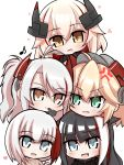 5girls admiral_graf_spee_(azur_lane) admiral_hipper_(azur_lane) anger_vein antenna_hair azur_lane bangs black_gloves black_hair black_shirt blonde_hair blue_eyes blunt_bangs blush chibi chin_on_head chin_rest deutschland_(azur_lane) eyebrows_visible_through_hair fang finger_to_mouth gloves green_eyes hair_between_eyes hair_flaps hand_on_another's_head hand_up headgear heart highres long_hair long_sleeves looking_at_another looking_at_viewer multicolored_hair multiple_girls musical_note open_mouth prinz_eugen_(azur_lane) red_gloves redhead risemaru_(rise2032) roon_(azur_lane) shiny shiny_hair shirt short_hair simple_background skin_fang smile streaked_hair sweater swept_bangs tongue two_side_up v-shaped_eyebrows white_background white_hair yellow_eyes