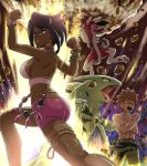 1boy 1girl black_hair bracelet breasts brown_hair claws clenched_hands dark_skin fangs flexing gen_2_pokemon gen_7_pokemon jewelry lycanroc lychee_(pokemon) muscle pokemoa pokemon pokemon_(game) pokemon_masters pose red_eyes rock short_shorts shorts sideboob smile spiky_hair takeshi_(pokemon) thighlet tyranitar