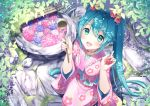 1girl :d aqua_eyes aqua_hair blush chitetan choker flower from_above hair_between_eyes hair_flower hair_ornament hatsune_miku japanese_clothes kimono ladle long_hair looking_at_viewer nail_polish open_mouth outdoors pink_kimono smile solo twintails very_long_hair vocaloid