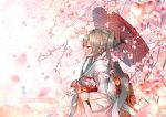 1girl absurdres arms_at_sides blurry blurry_background blurry_foreground cherry_blossoms closed_eyes closed_mouth commentary_request curly_hair depth_of_field fence floating flower grey_hair hatsune_miku highres holding holding_umbrella huge_filesize japanese_clothes kimono light_smile long_hair obi oriental_umbrella outdoors petals pink_flower profile red_umbrella remon_(25444767) sash shade shiny shiny_hair simple_background smile solo spring_(season) traditional_clothes tree tree_branch twintails umbrella under_tree upper_body very_long_hair vocaloid white_background white_kimono wide_shot wide_sleeves wind wind_lift