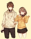 1boy 1girl :d bangs black_pants black_skirt blush breasts brown_hair brown_hoodie cellphone closed_mouth cropped_legs drawstring eyebrows_visible_through_hair hair_ornament hairclip hand_in_pocket height_difference holding holding_cellphone holding_phone hood hood_down long_sleeves looking_at_viewer miniskirt moyui_(myi_005) neck_ribbon open_mouth orange_background orange_eyes original pants phone pleated_skirt red_neckwear red_ribbon ribbon skirt sleeves_past_wrists small_breasts smartphone smile star starry_background sweater v yellow_sweater