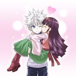 ;) alluka_zoldyck blue_eyes boots brown_hair carrying closed_eyes hunter_x_hunter killua_zoldyck kyuutou_(kyuutouryuu) long_hair one_eye_closed princess_carry silver_hair smile thigh-highs thigh_boots