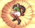 1girl black_footwear bow braided_ponytail brown_hair dragon_ball dragon_ball_z green_shirt lying mefomefo mexico original parody red_legwear ribbon shirt shorts soccer_uniform solo sportswear white_shorts yamcha_pose