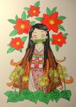 asa_no_ha_(pattern) bit_gag black_hair checkered_obi flower gag highres japanese_clothes kamado_nezuko kimetsu_no_yaiba kimono leaf long_hair long_sleeves looking_at_viewer multicolored_hair obi orange_hair photo pink_eyes pink_kimono plant red_flower sakura_szm sash simple_background traditional_media upper_body white_background yellow_flower