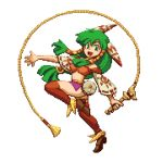 1girl breasts brown_footwear feena_(grandia) grandia green_eyes green_hair hair_ornament hair_tubes holding_whip jewelry long_hair looking_at_viewer low-tied_long_hair midriff navel open_mouth pixel_art pixelflag red_legwear ribbon-trimmed_sleeves ribbon_trim simple_background smile solo thigh-highs whip white_background wide_sleeves