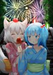 2girls :o aerial_fireworks alternate_costume animal_ears arm_up behind_another blue_eyes blue_hair blue_kimono blush breasts candy_apple closed_eyes collarbone commentary_request eating eyebrows_visible_through_hair fireworks floral_print food grin hair_between_eyes hair_bobbles hair_ornament hands_on_another's_shoulders hat inubashiri_momiji japanese_clothes kawashiro_nitori kimono large_breasts looking_back multiple_girls night obi outdoors pink_kimono red_headwear rururiaru sash short_hair silver_hair smile stairs standing tail tokin_hat touhou two_side_up upper_body wolf_ears wolf_tail yukata