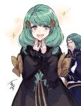 1boy 1girl bow brother_and_sister closed_eyes crying fire_emblem fire_emblem:_three_houses flayn_(fire_emblem) garreg_mach_monastery_uniform green_eyes green_hair hagiya_kaoru hair_ornament long_hair long_sleeves open_mouth seteth_(fire_emblem) short_hair siblings simple_background uniform white_background