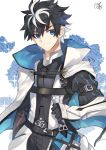 1boy armor black_gloves black_hair blue_eyes blue_flower cape charlemagne_(fate) closed_mouth commentary_request eyebrows_visible_through_hair fate/extella fate/extella_link fate/extra fate_(series) floral_background flower gloves hair_between_eyes highres holding holding_sword holding_weapon joyeuse_odre looking_at_viewer male_focus multicolored_hair nikame puff_and_slash_sleeves puffy_sleeves sheath sheathed short_hair signature smile solo spiky_hair sword two-tone_hair weapon white_cape white_hair