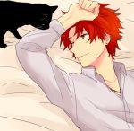 1boy akagi_toma bed cat earrings gen'ei_ibunroku_sharp_fe jewelry necklace one_eye_closed red_eyes redhead saichi_(meme+) solo upper_body