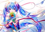 1girl absurdres ahoge bare_shoulders blue_eyes blue_hair blue_neckwear colorful commentary detached_sleeves english_commentary flower grey_shirt hair_ornament hatsune_miku highres holding holding_flower leaf long_hair looking_at_viewer necktie parted_lips shirayuki_towa shirt skirt sleeveless sleeveless_shirt sparkle star streamers sunflower symbol_in_eye twintails very_long_hair vocaloid