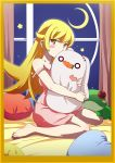 1girl bakemonogatari bangs bare_arms bare_shoulders barefoot bed_sheet blonde_hair blush_stickers border brown_border brown_eyes covered_mouth crescent_moon curtains dress gesugesu_ahoaho hair_between_eyes long_hair looking_at_viewer monogatari_(series) moon night night_sky object_hug oshino_shinobu pink_dress sky solo star strap_slip stuffed_animal stuffed_bunny stuffed_frog stuffed_toy very_long_hair window