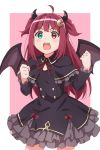 1girl :o absurdres black_capelet black_dress blue_eyes blush bow brown_wings capelet clenched_hands crescent crescent_hair_ornament demon_girl demon_horns demon_wings dress fang frilled_capelet frilled_dress frilled_sleeves frills hair_ornament hands_up heterochromia highres horns karahai_(31448823) long_hair long_sleeves looking_at_viewer neck_ribbon nijisanji open_mouth pink_background red_bow red_eyes red_ribbon redhead ribbon solo two-tone_background two_side_up very_long_hair virtual_youtuber white_background wings yuzuki_roa
