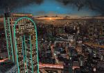 building car city cityscape clouds ferris_wheel ground_vehicle hai_to_hickory highres highway horizon motor_vehicle no_humans original real_world_location road roller_coaster scenery sky skyscraper sun sunset