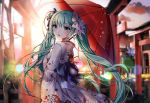 1girl :d bangs black_bow blurry blurry_background blush bow breasts commentary_request depth_of_field eyebrows_visible_through_hair fingernails floral_print green_eyes green_hair hair_between_eyes hair_bow hatsune_miku highres holding holding_umbrella japanese_clothes kimono long_hair obi open_mouth oriental_umbrella print_kimono red_umbrella sash small_breasts smile solo torii twintails umbrella very_long_hair vocaloid white_bow white_kimono xes_(xes_5377)