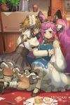 2girls artist_name bare_shoulders basket bell black_bow black_footwear bottle bow broken_plate carrot cat cleo_(dragalia_lost) commentary dragalia_lost english_commentary food hair_bell hair_bow hair_ornament hentaki highres implied_yuri kitchen light_brown_hair long_hair long_sleeves maid maid_headdress melody_(dragalia_lost) multiple_girls on_floor patreon_username purple_hair short_hair table thighs twintails vegetable very_long_hair watermark white_legwear wine_bottle