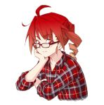 1girl ahoge anco8pizz arm_rest collarbone commentary cropped_torso drill_hair glasses head_rest highres kasane_teto leaning_forward looking_at_viewer looking_to_the_side plaid plaid_shirt red_eyes redhead shirt simple_background sitting sleeves_rolled_up smile solo upper_body utau v-shaped_eyebrows white_background