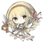 1girl bangs blonde_hair character_request chibi closed_mouth commentary_request cottontailtokki dress full_body hair_between_eyes hand_up head_tilt long_hair long_sleeves looking_at_viewer over-kneehighs pointy_ears red_ribbon ribbon shadowverse shingeki_no_bahamut sleeves_past_wrists smile solo staff standing standing_on_one_leg thigh-highs white_background white_dress white_legwear wide_sleeves yellow_eyes