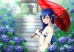 1girl bangs blue_hair blush braid commentary_request eyebrows_visible_through_hair flower hair_between_eyes hair_ornament highres holding holding_umbrella hydrangea japanese_clothes kimono kobayashi_nyoromichi long_hair looking_at_viewer love_live! love_live!_school_idol_project oriental_umbrella outdoors rain red_umbrella solo sonoda_umi striped umbrella yellow_eyes