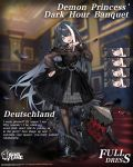 1girl :d :o anchor_symbol azur_lane black_dress black_feathers black_footwear black_hair black_legwear blue_eyes blush boots breasts commentary_request copyright_name cross cross-laced_footwear cross_earrings deutschland_(azur_lane) deutschland_(demon_princess'_dark_hour_banquet)_(azur_lane) dress earrings expressions feathers frilled_dress frills hand_on_hip hand_up highres jewelry lace-up_boots long_hair long_sleeves looking_at_viewer machinery multicolored_hair official_art open_mouth pantyhose parted_lips puffy_long_sleeves puffy_sleeves ran_(pixiv2957827) redhead see-through small_breasts smile standing streaked_hair very_long_hair white_hair