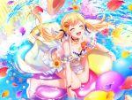 bang_dream! blonde_hair blush kle long_hair shirasagi_chisato swimsuit twintails violet_eyes wink