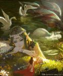 2girls bird braid bridal_gauntlets brown_hair circlet day facing_away fairy flower grass green_eyes head_wreath highres lake light_smile looking_at_viewer mermaid monster_girl multiple_girls official_art outdoors pointy_ears rui_li scales seashell shell shingeki_no_bahamut swan twin_braids water watermark wide_sleeves