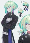 1boy artist_request bangs blonde_hair chibi chinese_clothes gloves highres lio_fotia looking_at_viewer male_focus open_mouth promare short_hair simple_background smile solo violet_eyes