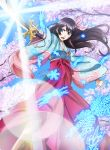 1girl absurdres amamiya_sakura bangs black_hair blue_eyes blue_sky boots cherry_blossoms glint hair_ribbon hakama highres holding holding_sword holding_weapon japanese_clothes katana key_visual kimono long_hair official_art open_mouth petals pointing_sword ribbon sakura_taisen shin_sakura_taisen sky solo sword unsheathed weapon wide_sleeves wind