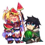 2boys :d ^_^ arm_up bangs belt black_belt black_footwear black_gloves black_hair black_pants blonde_hair boots cape chibi closed_eyes d: eyebrows_visible_through_hair feathers fingerless_gloves food fruit full_body fur-trimmed_boots fur_trim gloves green_cape green_eyes green_pants hair_between_eyes hair_feathers high_collar holding holding_food holding_fruit holding_spear holding_weapon indian_style iwatani_naofumi kitamura_motoyasu looking_at_another maho_(boku_no_kao_wo_otabeyo) male_focus multiple_boys open_mouth pants polearm ponytail red_cape red_tunic sidelocks simple_background sitting smile spear standing tate_no_yuusha_no_nariagari tunic watermelon weapon white_background