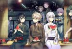 1other 6+boys :d ;q ahoge akita_toushirou black_hair blue_eyes bob_cut brown_eyes brown_hair eating fan food fruit glass green_hair hirano_toushirou honebami_toushirou houhou_(black_lack) japanese_clothes katsugeki/touken_ranbu kimono maeda_toushirou multiple_boys namazuo_toushirou nikkari_aoe nose_bubble one_eye_closed open_mouth paper_fan pink_hair ponytail saniwa_(katsugeki/touken_ranbu) sitting sleeping smile tongue tongue_out touken_ranbu tray tsurumaru_kuninaga uchiwa violet_eyes watermelon white_hair wind_chime yagen_toushirou yellow_eyes yukata
