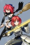 2girls artoria_pendragon_(all) black_scarf blue_dress blue_eyes blue_ribbon breastplate broom chiizu_ore concealed_sword cosplay dress excalibur gauntlets glint glowing glowing_sword glowing_weapon grey_background hair_ribbon highres hisui japanese_clothes kimono kohaku medium_hair multiple_girls obi okita_souji_(fate) okita_souji_(fate)_(all) okita_souji_(fate)_(cosplay) one_eye_closed open_mouth redhead ribbon saber saber_(cosplay) sash scarf sheath siblings simple_background sisters sweatdrop sword thigh-highs tsukihime unsheathing weapon yellow_eyes yukata