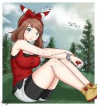1girl ass bandana bangs bare_legs bare_shoulders bare_thighs blue_eyes blue_sky blush bracelet breasts brown_hair clouds draconety grass hairband haruka_(pokemon) highres huge_breasts jewelry large_breasts legs lips looking_at_viewer medium_hair nintendo nose nose_blush pine_tree poke_ball pokemon pokemon_(anime) pokemon_(creature) pokemon_(game) pokemon_oras pokemon_rse shoes sitting sky smile sneakers solo thick_thighs thighs tree watermark wingull