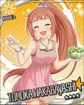 blush brown_hair character_name closed_eyes dress idolmaster idolmaster_cinderella_girls long_hair ponytail smile stars wakabayashi_tomoka